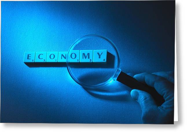 Scrabble Greeting Cards - Economic Scrutiny, Conceptual Image Greeting Card by Tek Image