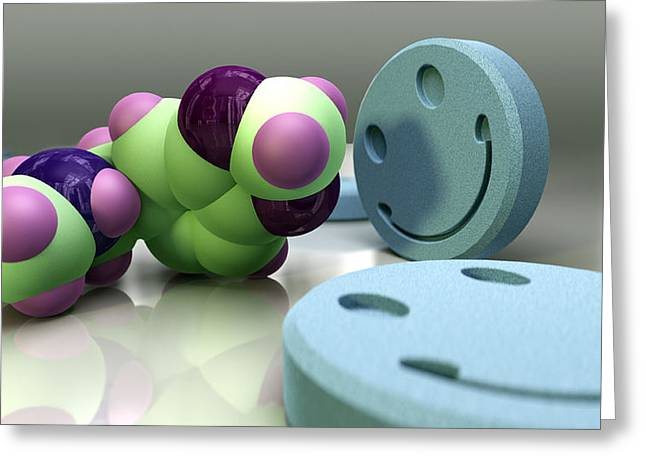 Drug House Greeting Cards - Ecstasy Drug Molecule And Tablets Greeting Card by Phantatomix