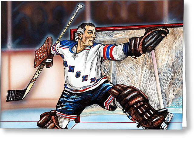 Hall Of Fame Drawings Greeting Cards - Eddie Giacomin Greeting Card by Dave Olsen