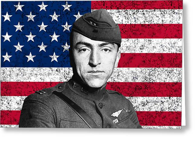 Fighters Greeting Cards - Eddie Rickenbacker and The American Flag Greeting Card by War Is Hell Store