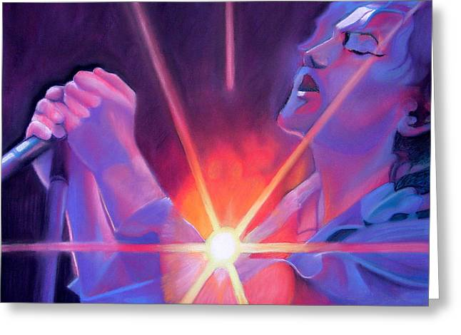 Famous Musicians Greeting Cards - Eddie Vedder and Lights Greeting Card by Joshua Morton