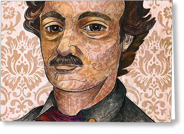 Edgar Allan Poe after the Thompson daguerreotype Greeting Card by Nancy Mitchell