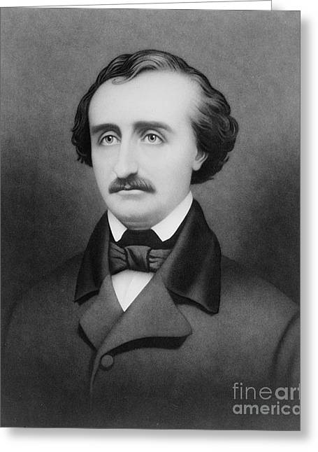 Romantic Movement Greeting Cards - Edgar Allan Poe, American Author Greeting Card by Photo Researchers