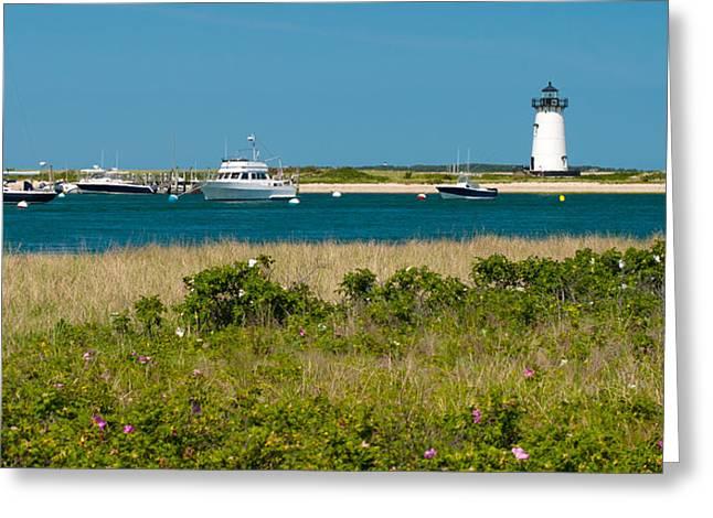 Beach Roses Greeting Cards - Edgartown Lighthouse Marthas Vineyard Massachusetts Greeting Card by Michelle Wiarda