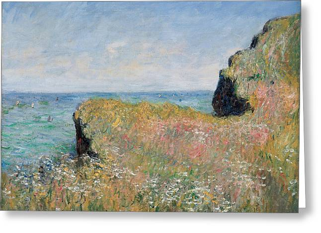 Fields Greeting Cards - Edge of the Cliff Pourville Greeting Card by Claude Monet