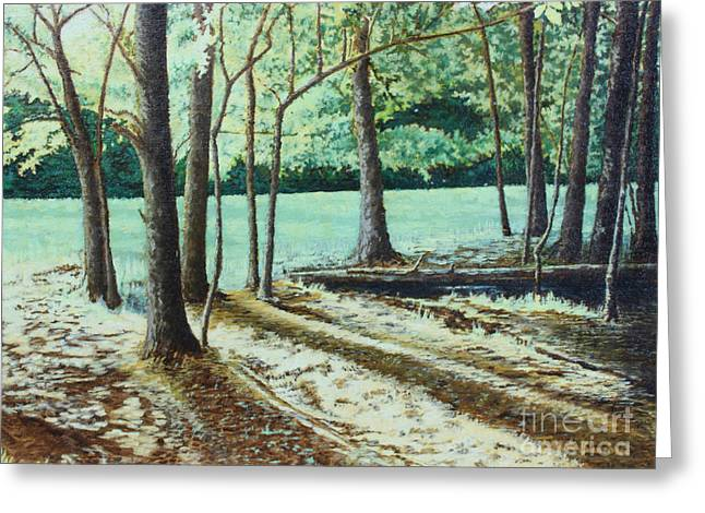 Smoky Paintings Greeting Cards - Edge of the Forest Greeting Card by Todd A Blanchard