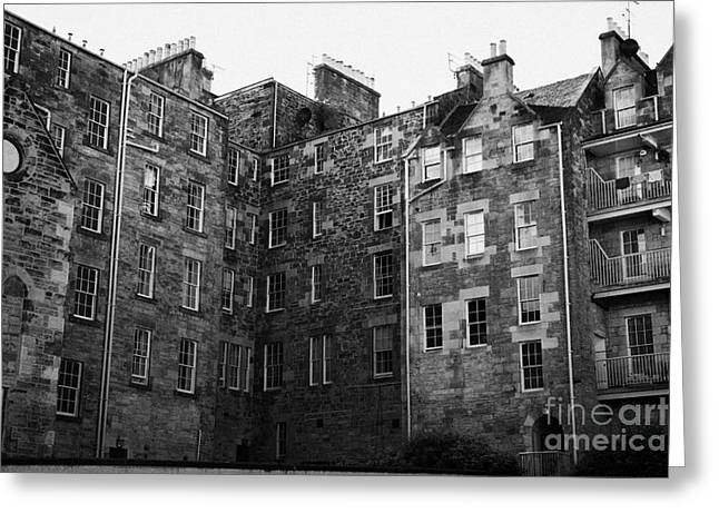 Town Square Greeting Cards - Edinburgh Close Square Tenement Buildings Typical Architecture In The Old Town Scotland Uk United Ki Greeting Card by Joe Fox
