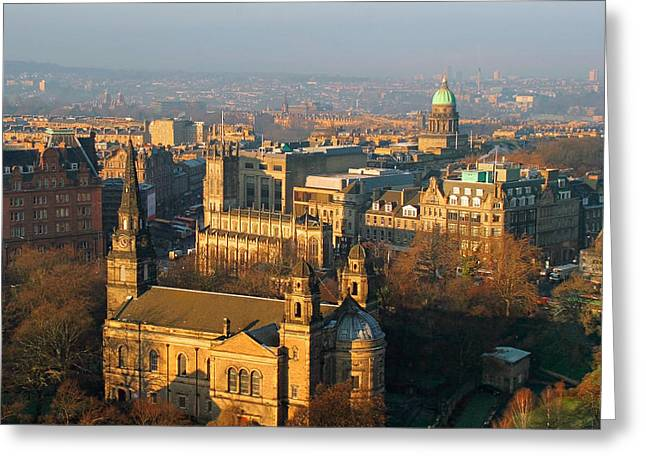 Winterscape Greeting Cards - Edinburgh on a Winters Day Greeting Card by Christine Till