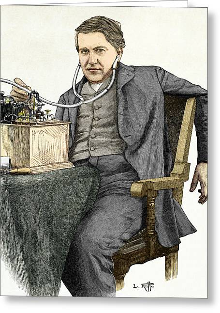 Thomas Alva Edison Greeting Cards - Edison And His Phonograph Greeting Card by Sheila Terry