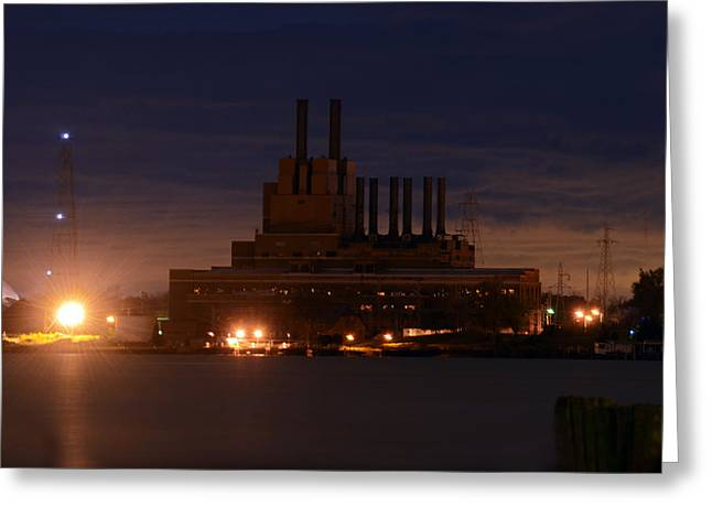 Edison Greeting Cards - Edison building at night Greeting Card by Cheryl Cencich