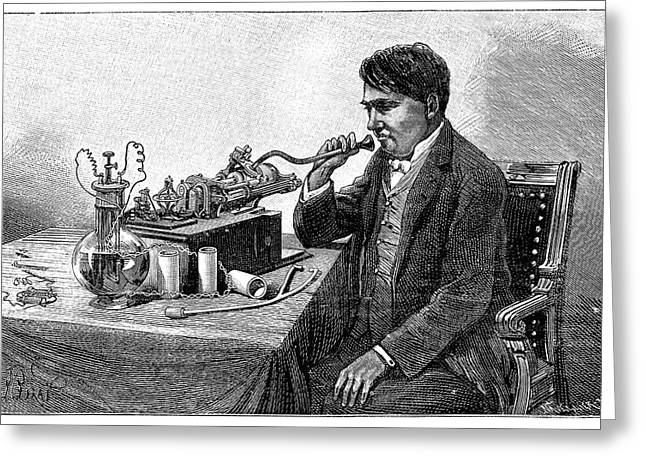 E Black Greeting Cards - Edison Talking Into His Phonograph Greeting Card by