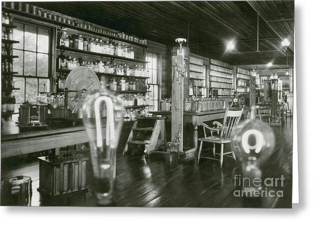 Historical Pictures Greeting Cards - Edisons Menlo Park Lab Greeting Card by Science Source