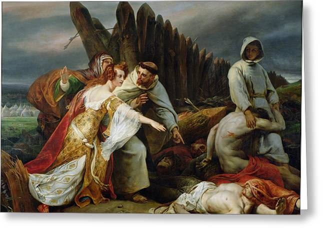 Horror Greeting Cards - Edith Finding the Body of Harold Greeting Card by Emile Jean Horace Vernet