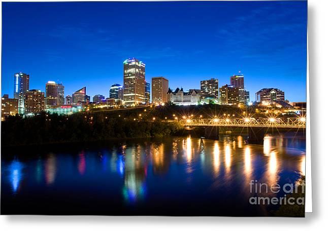 Edmonton Greeting Cards - Edmonton Skyline Greeting Card by Terry Elniski