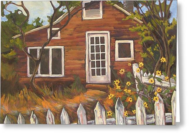 Clapboard House Paintings Greeting Cards - Eds Place Greeting Card by Gina Grundemann
