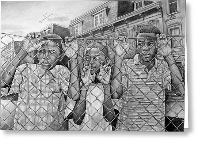 African-american Drawings Greeting Cards - Education Is The Way Out Greeting Card by Curtis James