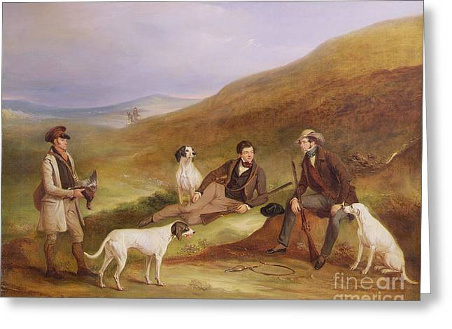 Grouse Greeting Cards - Edward Horner Reynard and his Brother George Greeting Card by John E Ferneley