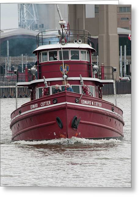 Fireboat Photographs Greeting Cards - Edward M Cotter Greeting Card by Guy Whiteley
