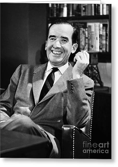 Smoker Greeting Cards - Edward R. Murrow Greeting Card by Granger