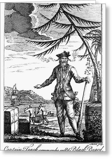 Pirate Ship Greeting Cards - Edward Teach (?-1718) Greeting Card by Granger