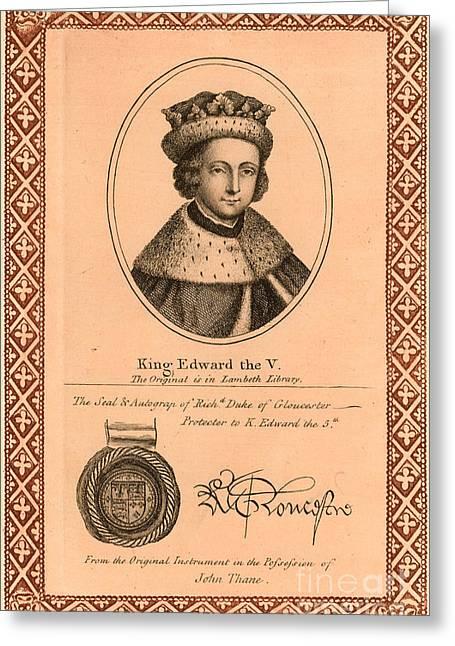 Duke Boys Greeting Cards - Edward V (1470-1483) Greeting Card by Granger
