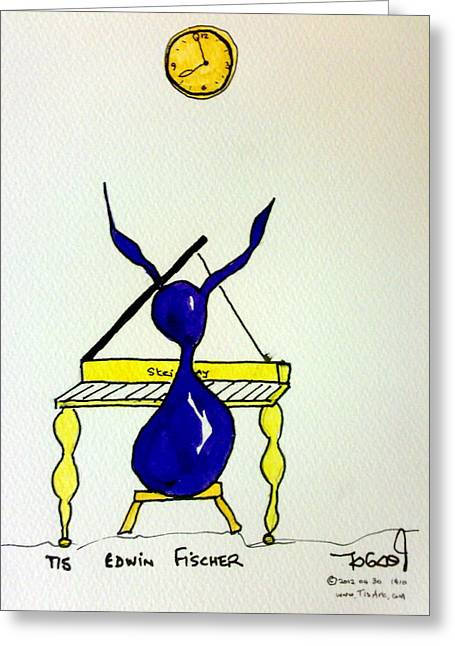 Music Time Drawings Greeting Cards - Edwin Greeting Card by Tis Art