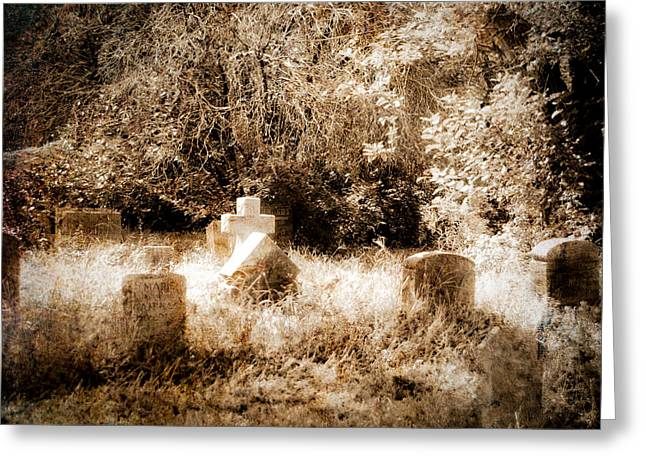 Eerie Cemetery Greeting Card by Sonja Quintero