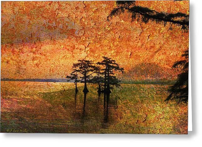 Cypress Tree Digital Art Greeting Cards - Eerie Sunrise  Greeting Card by J Larry Walker