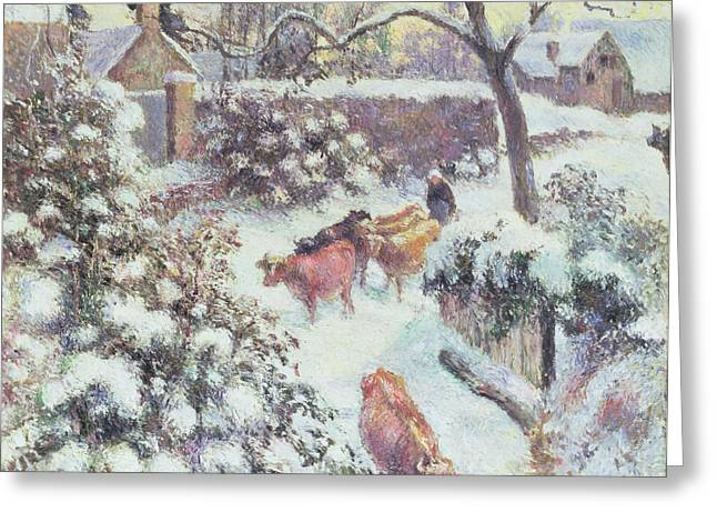 1830 Greeting Cards - Effect of Snow at Montfoucault Greeting Card by Camille Pissarro