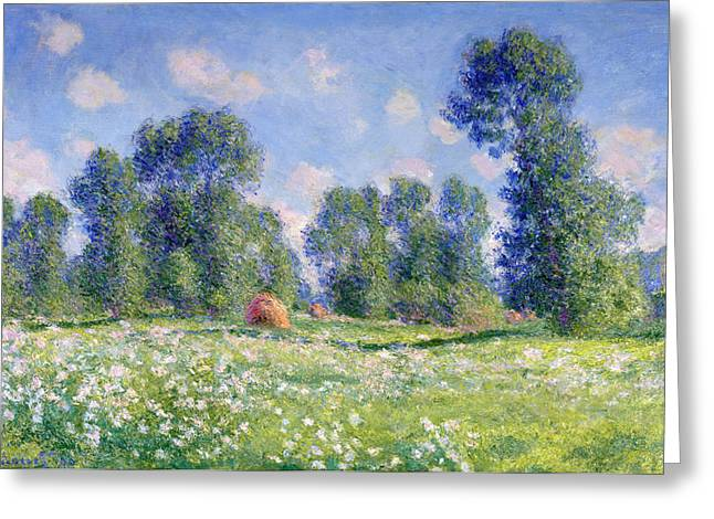Crops Paintings Greeting Cards - Effect of Spring at Giverny Greeting Card by Claude Monet