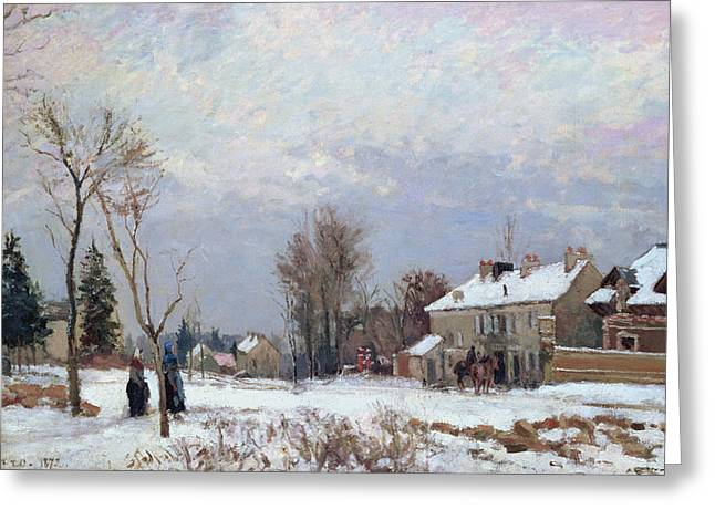 Snowy Road Greeting Cards - Effects of Snow Greeting Card by Camille Pissarro