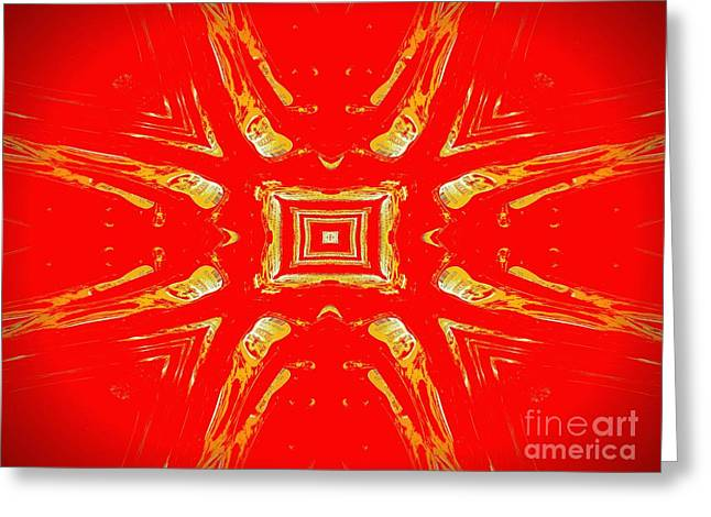 Hallucination Greeting Cards - Effects of Vodka gold and red Greeting Card by Renee Trenholm