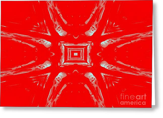 Hallucination Greeting Cards - Effects of Vodka red and silver Greeting Card by Renee Trenholm