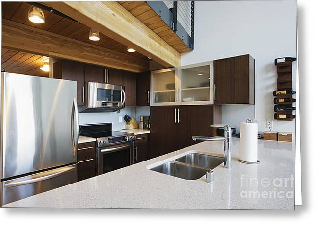 Efficiency Apartment Kitchen Greeting Card by Ben Sandall