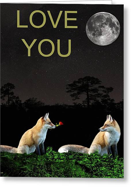 Eric Kempson Greeting Cards - Eftalou Foxes LOVE YOU Greeting Card by Eric Kempson