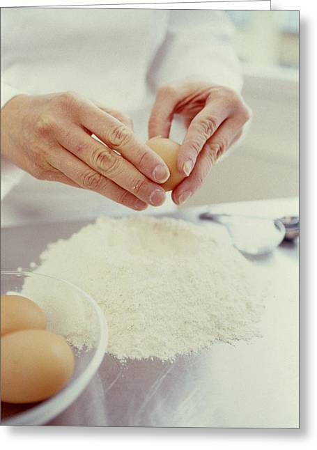 Flour Greeting Cards - Egg And Flour Greeting Card by David Munns