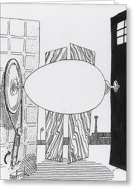Screen Doors Drawings Greeting Cards - Egg Drawing 059907 Greeting Card by Phil Burns