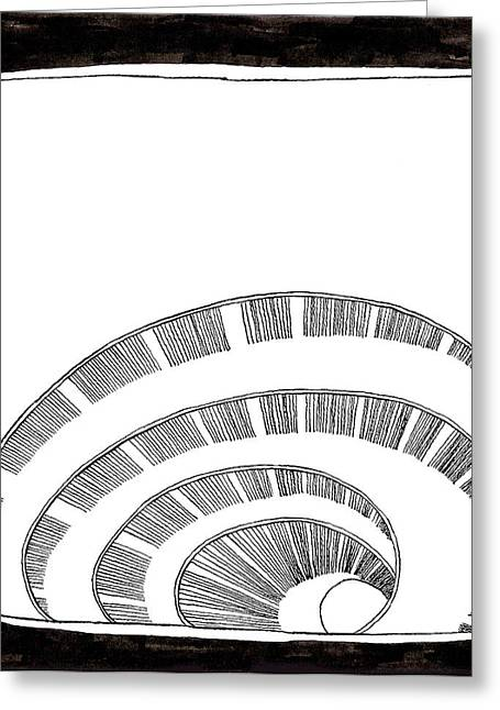 Spiral Staircase Drawings Greeting Cards - Egg Spiral Greeting Card by Phil Burns