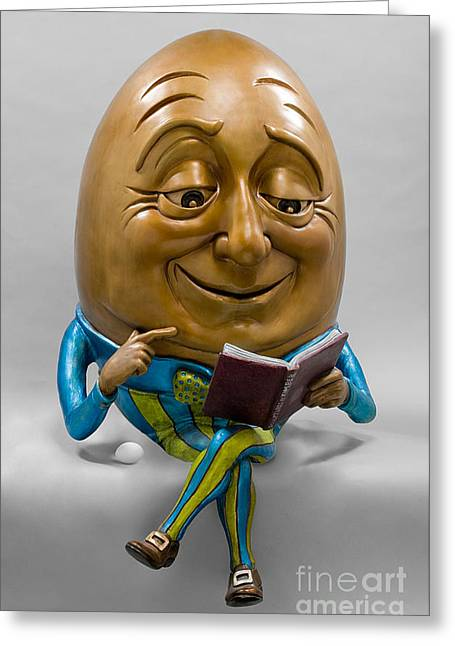 Book Sculptures Greeting Cards - Egghead Greeting Card by Kimber Fiebiger