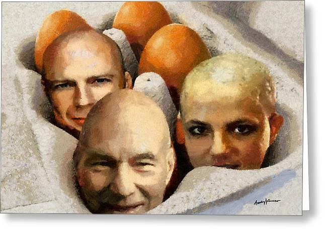 Imagination Greeting Cards - Eggheads Greeting Card by Anthony Caruso