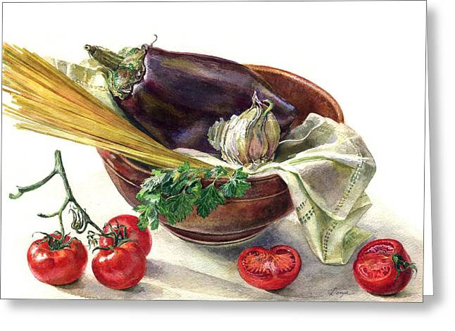 Spaghetti Drawings Greeting Cards - Eggplant and spaghetti Greeting Card by Darya Tsaptsyna