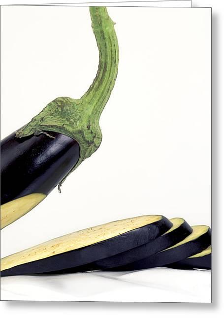 Cut-open Greeting Cards - Eggplants Greeting Card by Bernard Jaubert