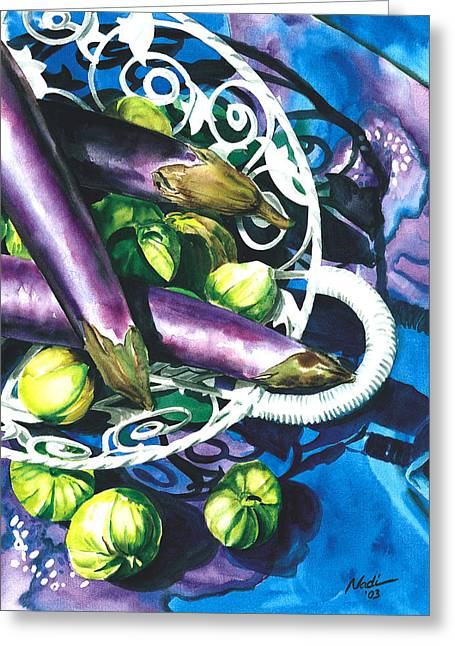 Nadi Spencer Paintings Greeting Cards - Eggplants Greeting Card by Nadi Spencer