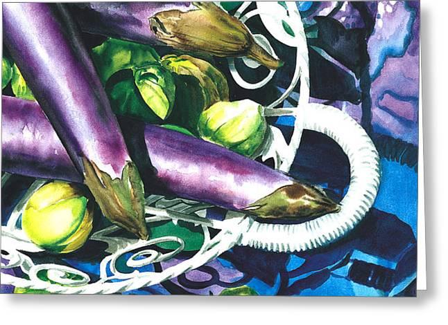 Eggplants Greeting Card by Nadi Spencer