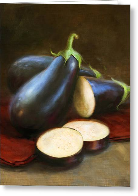 Cooks Illustrated Paintings Greeting Cards - Eggplants Greeting Card by Robert Papp
