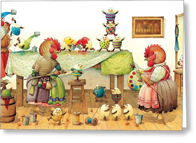 Egg Greeting Cards - Eggs Dyeing Greeting Card by Kestutis Kasparavicius