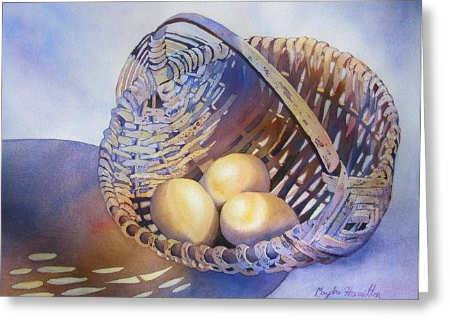 Still-life With A Basket Greeting Cards - Eggs in a Basket Greeting Card by Daydre Hamilton
