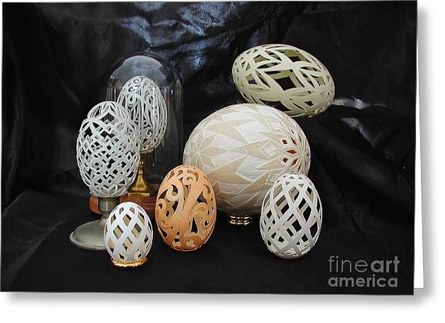 Carved Sculptures Greeting Cards - Eggshells 1 Greeting Card by Christina A Pacillo