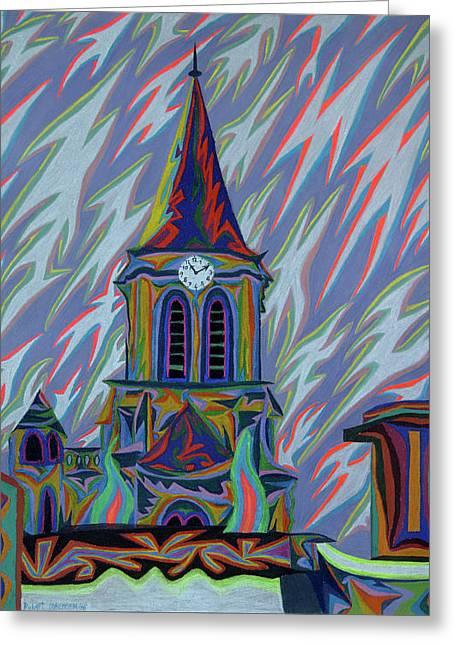 Clock Pastels Greeting Cards - Eglise Onze - Onze Greeting Card by Robert  SORENSEN