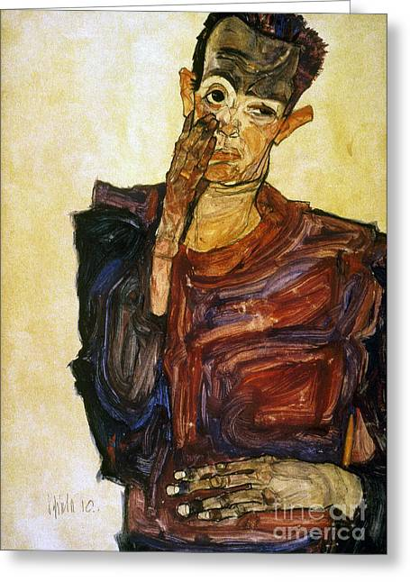 Best Sellers -  - Self-portrait Photographs Greeting Cards - Egon Schiele (1890-1918) Greeting Card by Granger